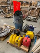 Pallet of Asst. Fuel Cans, Garbage Cans, Booster Cables, Straps, etc.