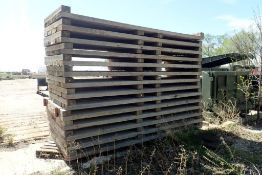 """Lot of (9) 12'3""""x50"""" Wooden Deck Sections and (5) 12'3""""x60"""" Wooden Deck Sections."""