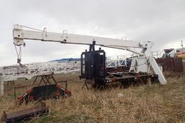 """15'x8'2"""" Deck w/ RO TC-2863 28,800lbs Capacity Crane, Front Outriggers and 2 Ball Hooks."""