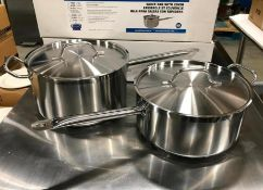 10QT & 7.5QT HEAVY DUTY STAINLESS SAUCE PAN SET INDUCTION CAPABLE - NEW
