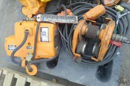 Kito EF2-010L 1-Ton Electric Chain Hoist w/ 2-Ton Trolley.