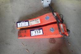Lot of 2 Power Team HS3000 1 1/2-Ton Hydraulic Flange Spreaders.