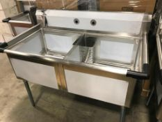 """2 TUB STAINLESS STEEL SINK WITH CORNER DRAIN, 120-S2C242414, 29.5"""" X 53"""" X 43.75"""" - NEW"""