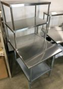 """36"""" X 30"""" STAINLESS TABLE WITH 18"""" DOUBLE OVERSHELVES"""