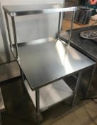 """30"""" X 30"""" STAINLESS TABLE WITH 12"""" OVERSHELF"""