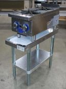 """GLOBE GHP12G NATURAL GAS 12"""" - 2 BURNER COUNTERTOP HOT PLATE WITH EQUIPMENT STAND"""