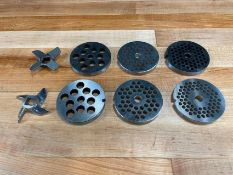 #12 MEAT GRINDER PLATES AND KNIVES - LOT OF 8 PIECES