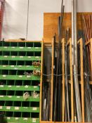Lot of Asst. Black Pipe, Chanel Iron, Snow Fence Stakes, Threaded Rod, etc.