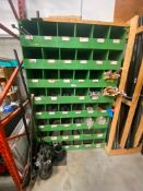 Green Parts Cubby Shelf w/ Asst. Contents including Tie Wire, PVC Pipe Fittings, Turnbuckles, Valves