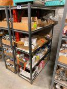 Metal Rack w/ Asst. Contents including Asst. PVC Tape, Valves, Clips, Brackets, etc.