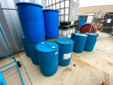 Lot of Approx. (13) Asst. Drums Glycol, Used Oil etc.