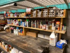 Contents of Shelf including Asst. Silicone, Asst. Aerosol Products, Turpentine, Adhesive, Caulking G