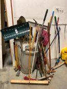 Lot of Asst. Brooms, Shovels, Squeegees, Pick-Axe, Sledgehammer, etc.
