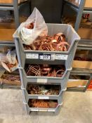 Lot of (4) Asst. Parts Bins w/ Copper Clamps, Fittings, etc.