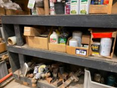 Lot of Asst. Automotive Parts including Oil, Filters, Battery, Funnels, Grease Guns, etc.
