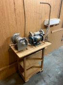 Lot of (3) Bench grinders w. Stand