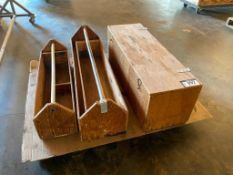 Lot of (2) Wooden Tool Caddies and (1) Wooden Tool Box