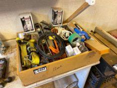 Lot of Asst. Hand Tools Straps, Caulking Guns, Lighting, etc.
