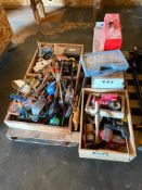 Pallet of Asst. Hand Tools including Pry Bars, Hacksaw, Toolbox, Tape Measure, etc.