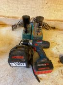 Lot of Bosch Drill, Charger and Battery w/ (2) Makita Chargers and Batteries