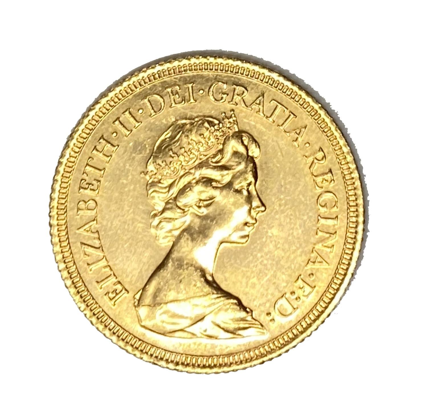 Elizabeth II gold Sovereign coin, 1978
