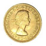Elizabeth II gold Sovereign coin, 1965