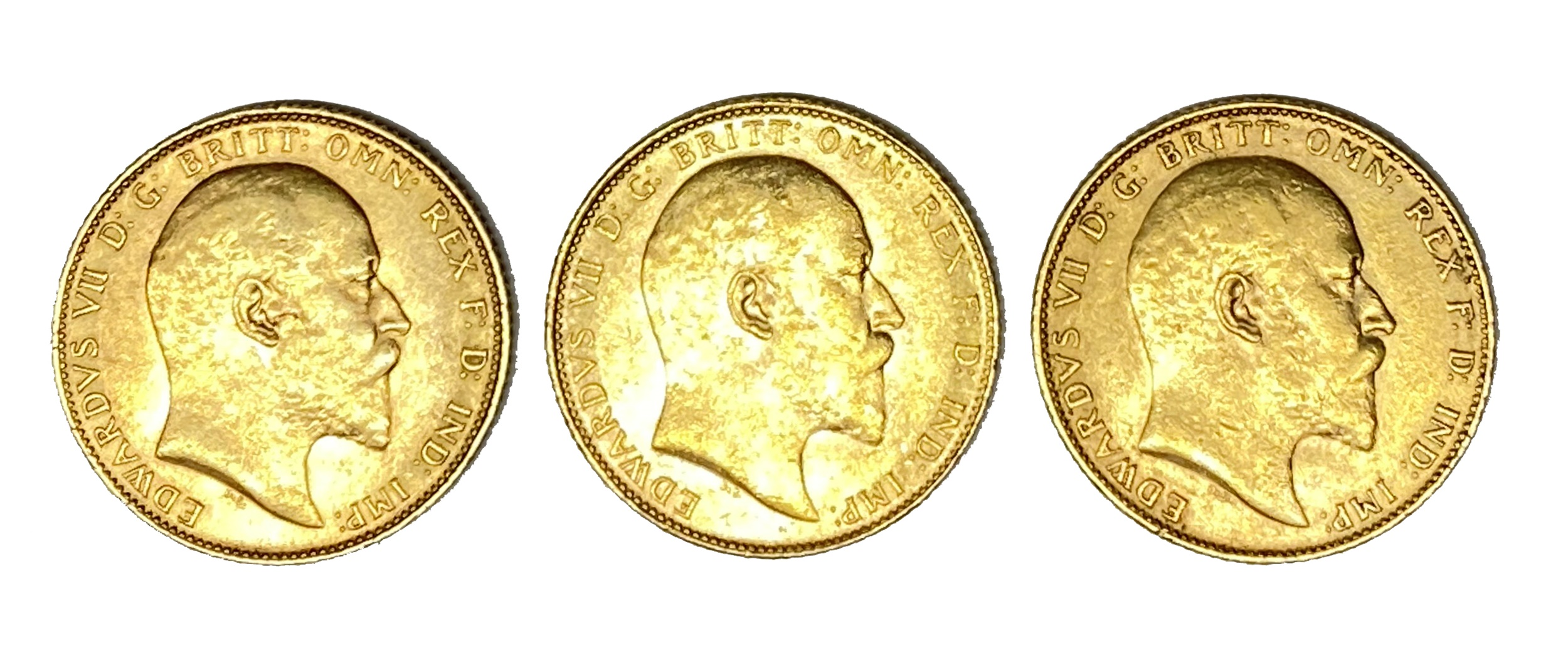 Edward VII three gold Sovereign coins, 1910