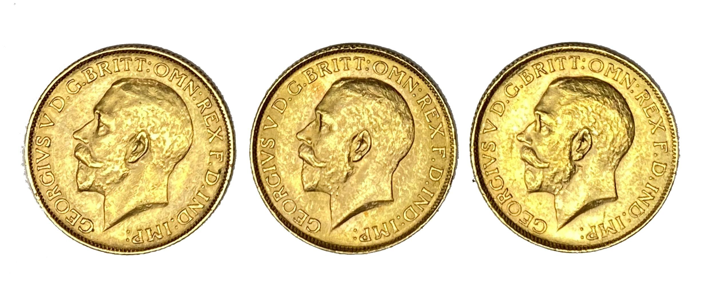 George V three gold Sovereign coins, 1925, Pretoria mint