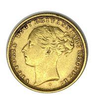Queen Victoria gold Sovereign coin, 1884