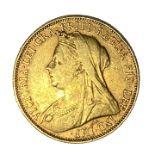 Queen Victoria gold Sovereign coin, Melbourne mint, 1901
