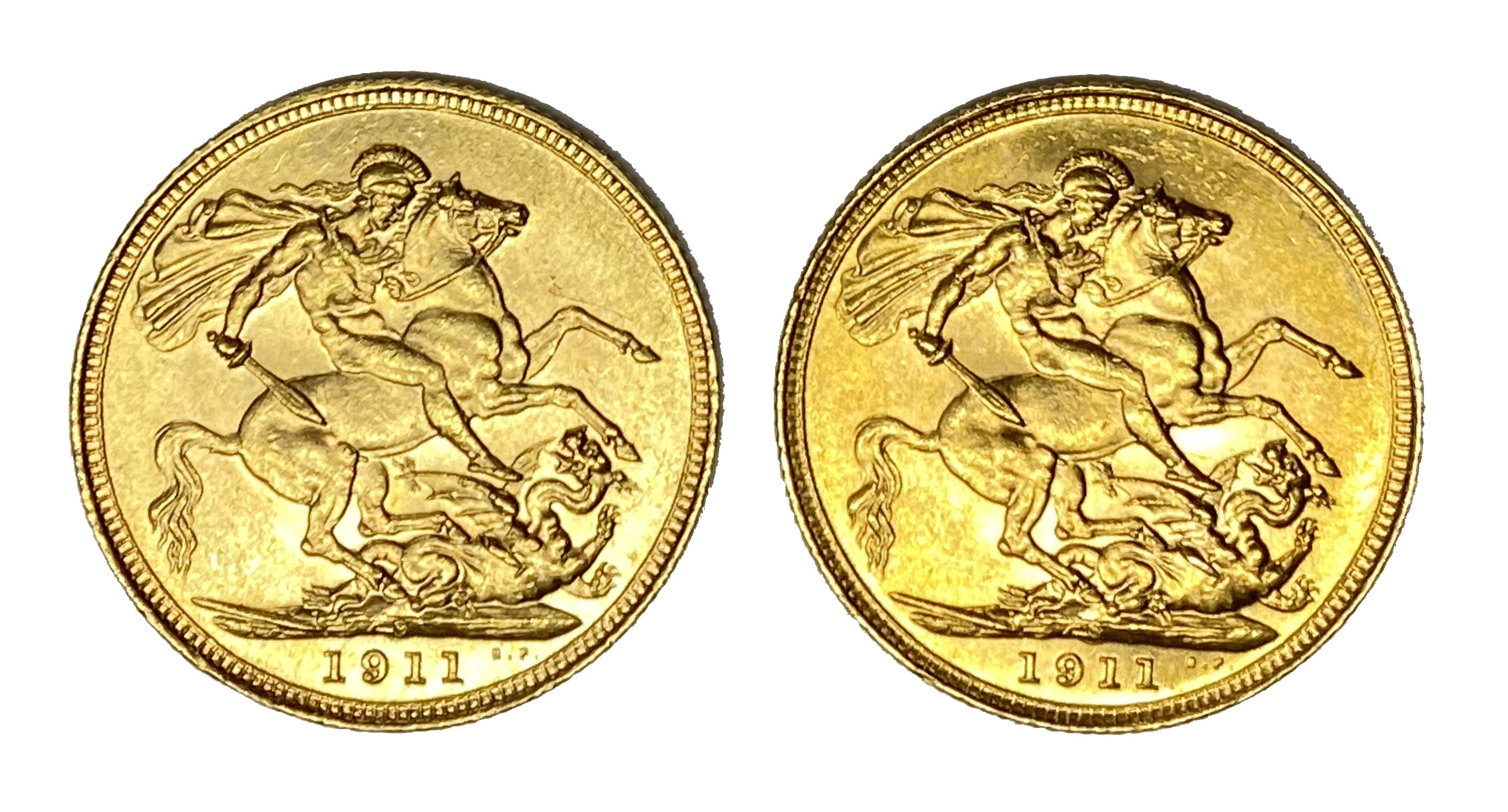 George V two gold Sovereign coins, 1911, Sydney mint - Image 2 of 2