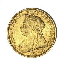 Queen Victoria gold Sovereign coin, 1895