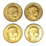 French Republic four 20 Franc gold coins, 1905