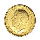 George V gold Sovereign coin, 1915, Melbourne mint