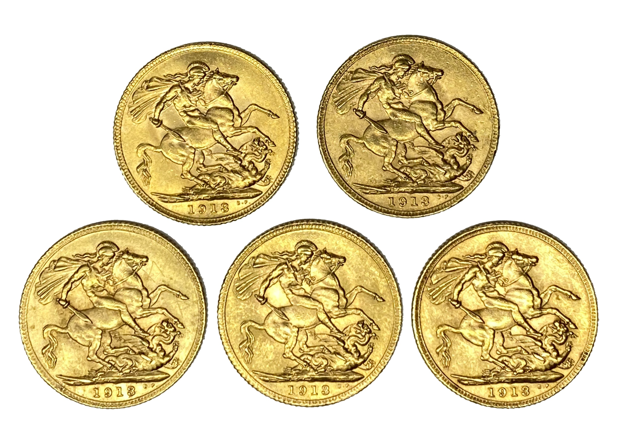 George V five gold Sovereign coins, 1913, - Image 2 of 2