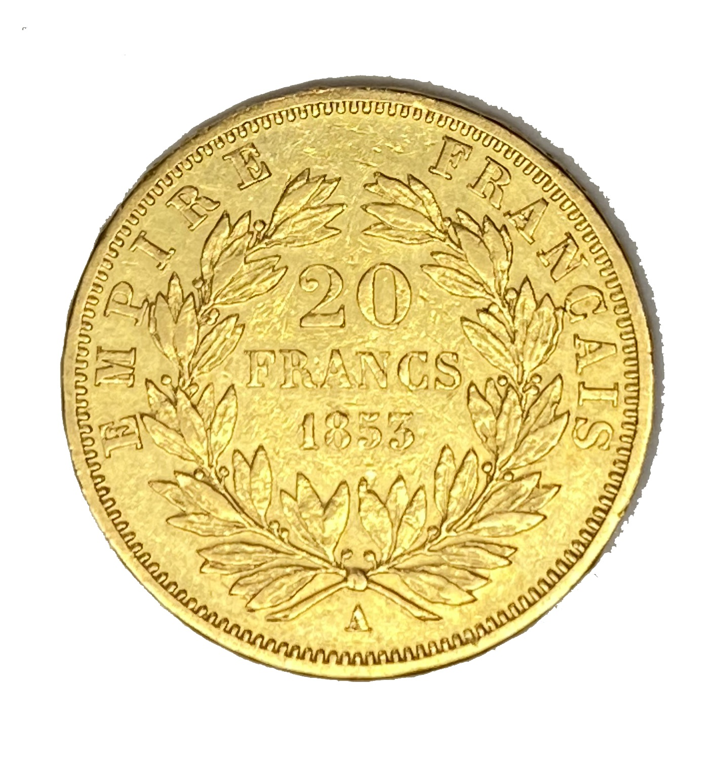 French Empire 20 Franc gold coin, Napoleon III, 1853 - Image 2 of 2