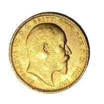 Edward VII gold Sovereign coin, 1902, Sydney mint