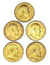 Edward VII five gold Sovereign coins, 1910