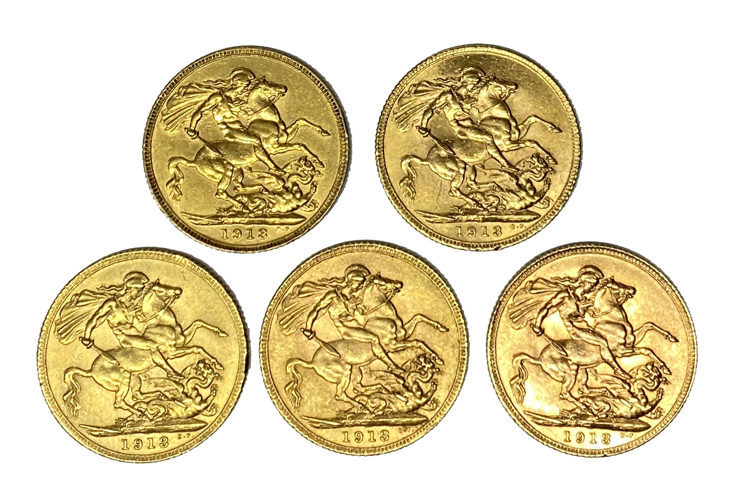 George V five gold Sovereign coins, 1913 - Image 2 of 2