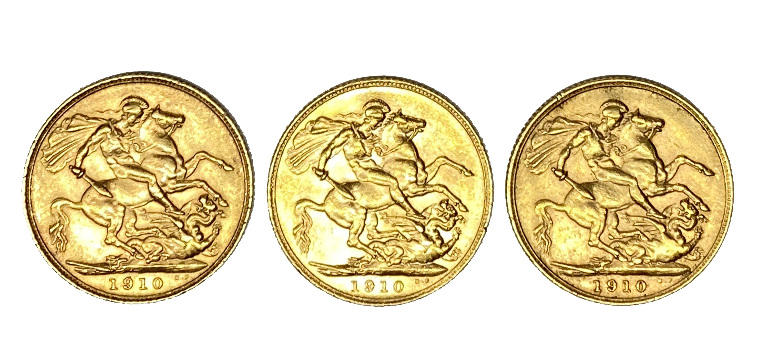 Edward VII three gold Sovereign coins, 1910 - Image 2 of 2
