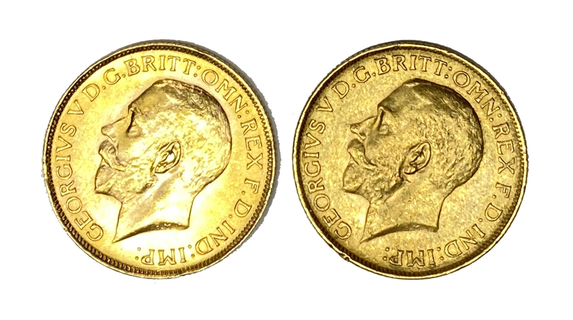 George V two gold Sovereign coins, 1927, Pretoria mint