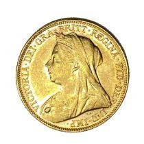 Queen Victoria gold Sovereign coin, 1899
