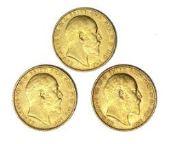 Edward VII three gold Sovereign coins, 1903