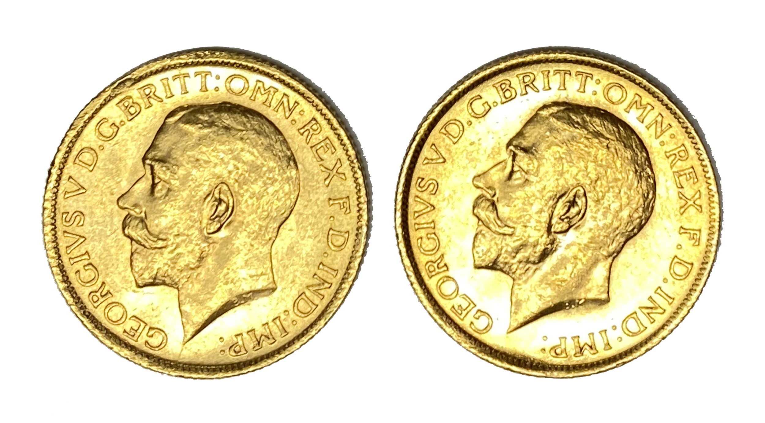 George V two gold Sovereign coins, 1911, Sydney mint