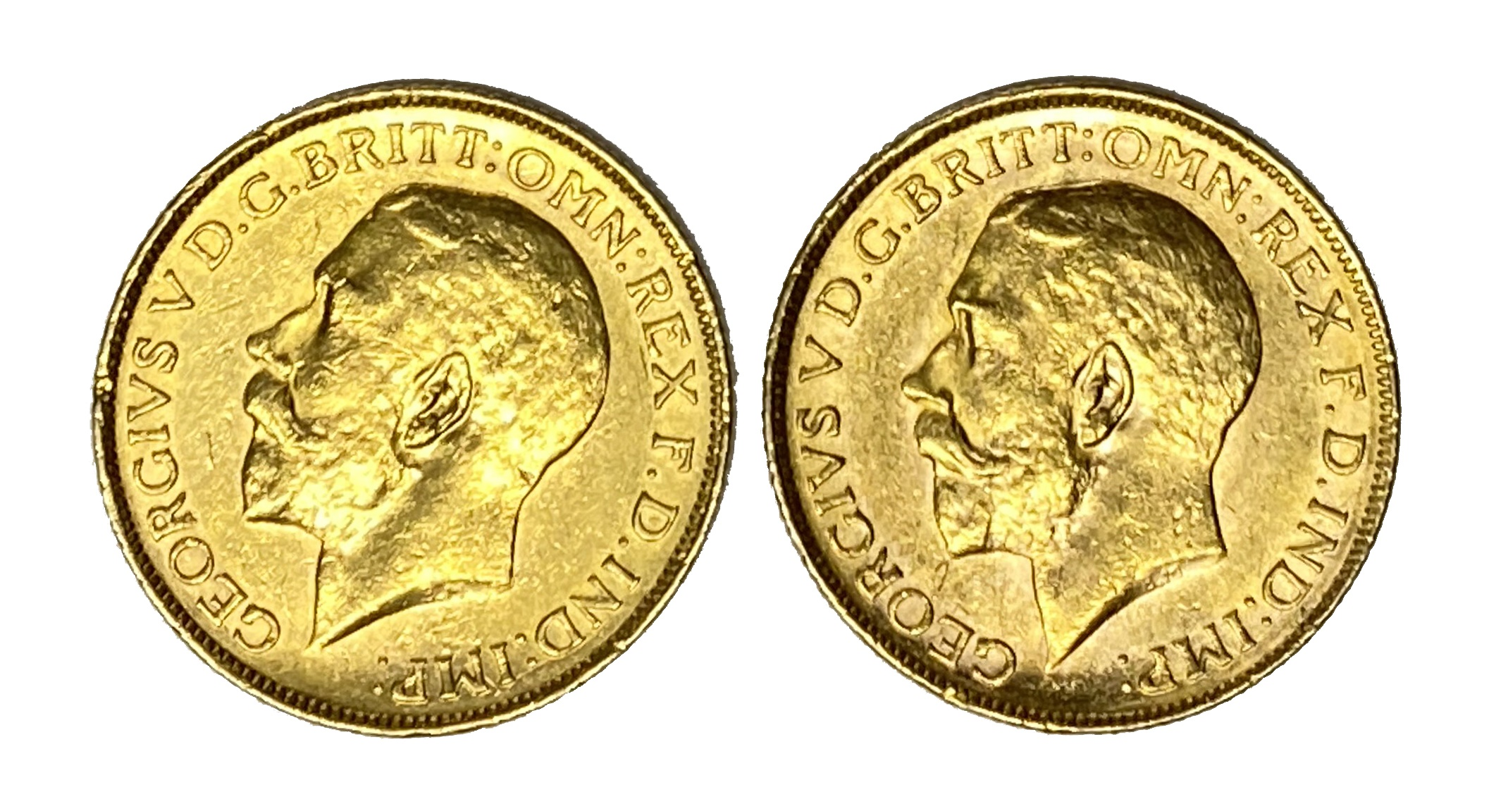 George V two gold Sovereign coins, 1918, Melbourne mint