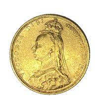 Queen Victoria gold Sovereign coin, 1892