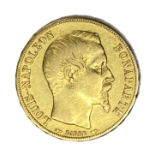 French Republic 20 Franc gold coin, 1852