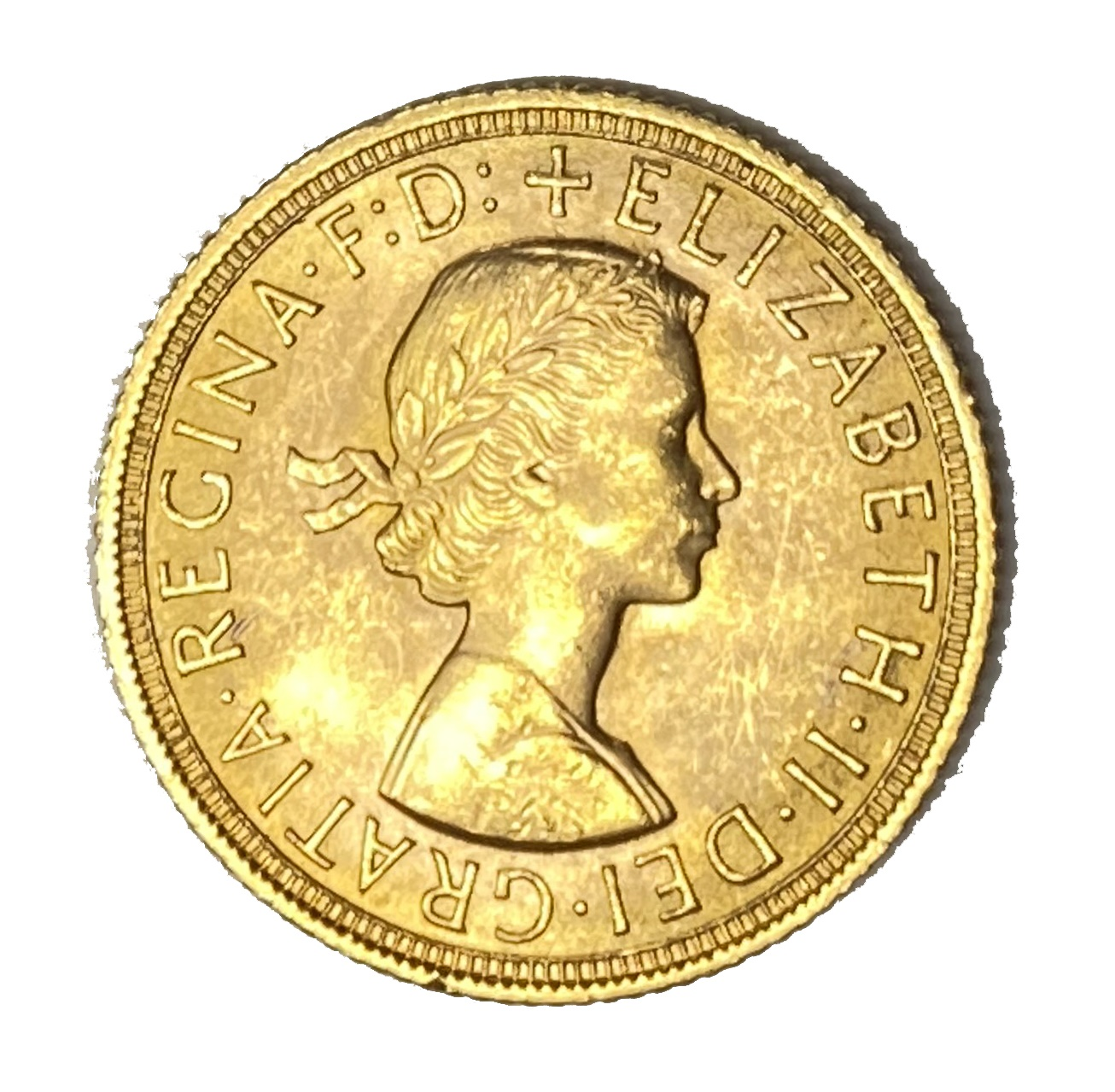 Elizabeth II gold Sovereign coin, 1958