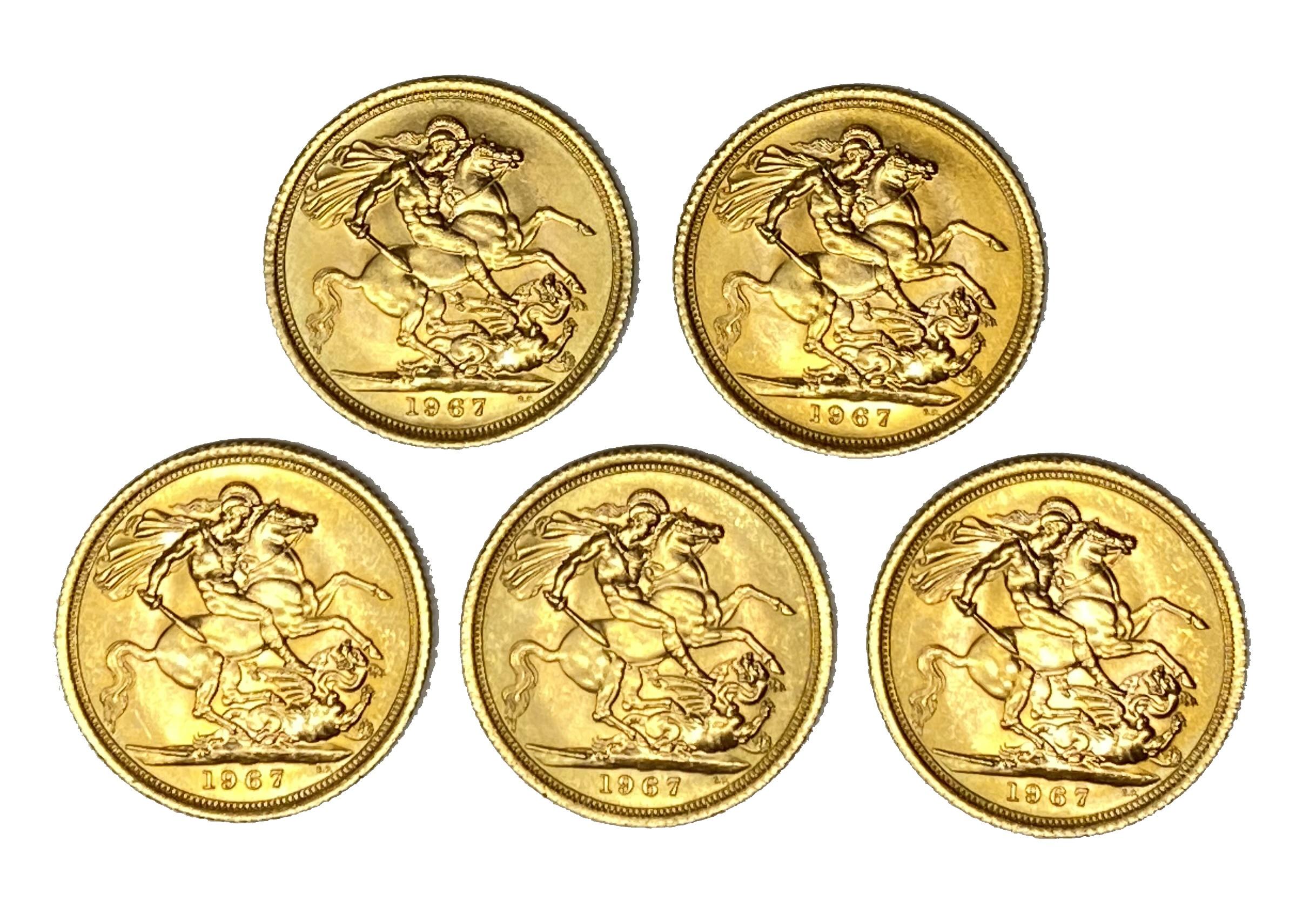 Elizabeth II five gold Sovereign coins, 1967 - Image 2 of 2