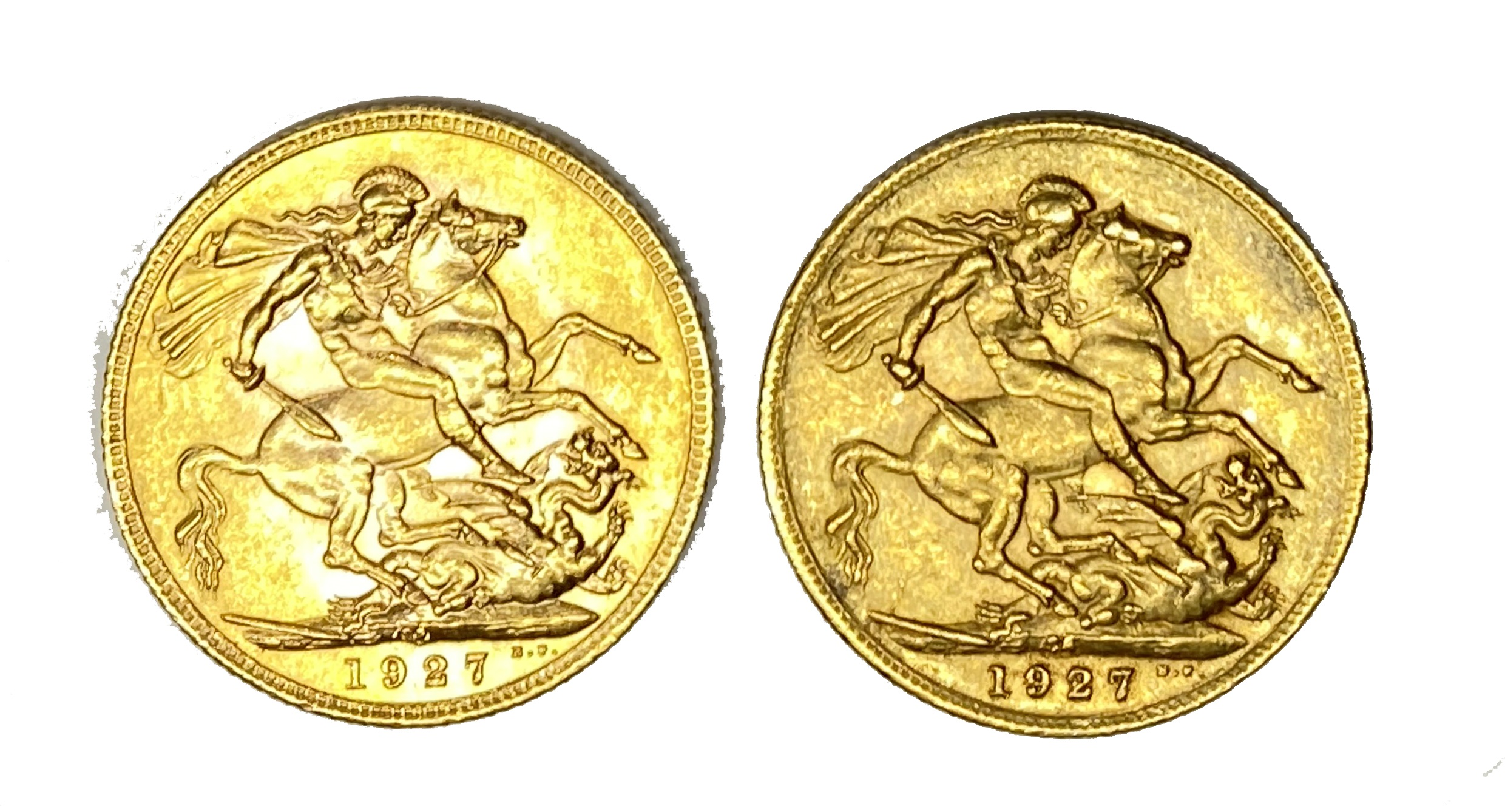 George V two gold Sovereign coins, 1927, Pretoria mint - Image 2 of 2
